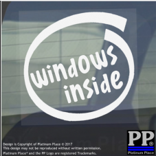 1 x Windows Inside-Window,Car,Van,Sticker,Sign,Vehicle,7,8,10,Cortana,Processor